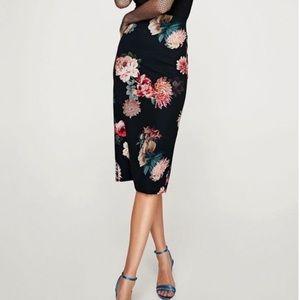 Zara Floral Midi Pencil Skirt